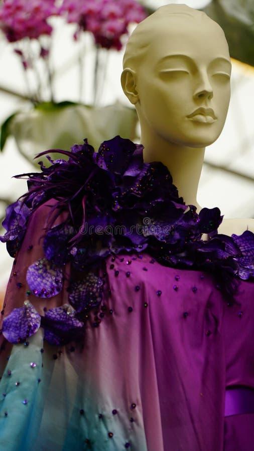 Orkidén blommar haute couture royaltyfri fotografi