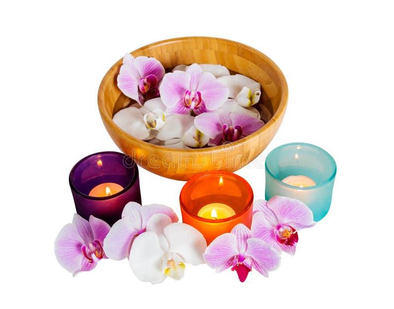 Orkidér och stearinljus som isoleras på vit fotografering för bildbyråer