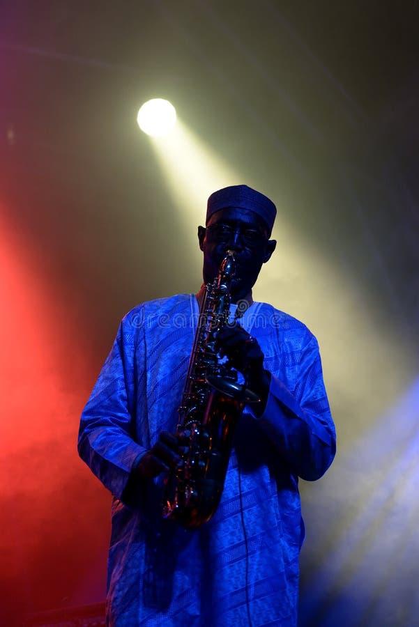 Orkiestra baobabu Karaiby fuzi zespół wykonuje w koncercie przy Primavera dźwiękiem 2016 obraz stock
