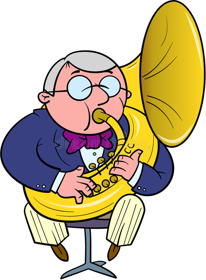 Orkiestra muzyk bawić się tuba ilustracji