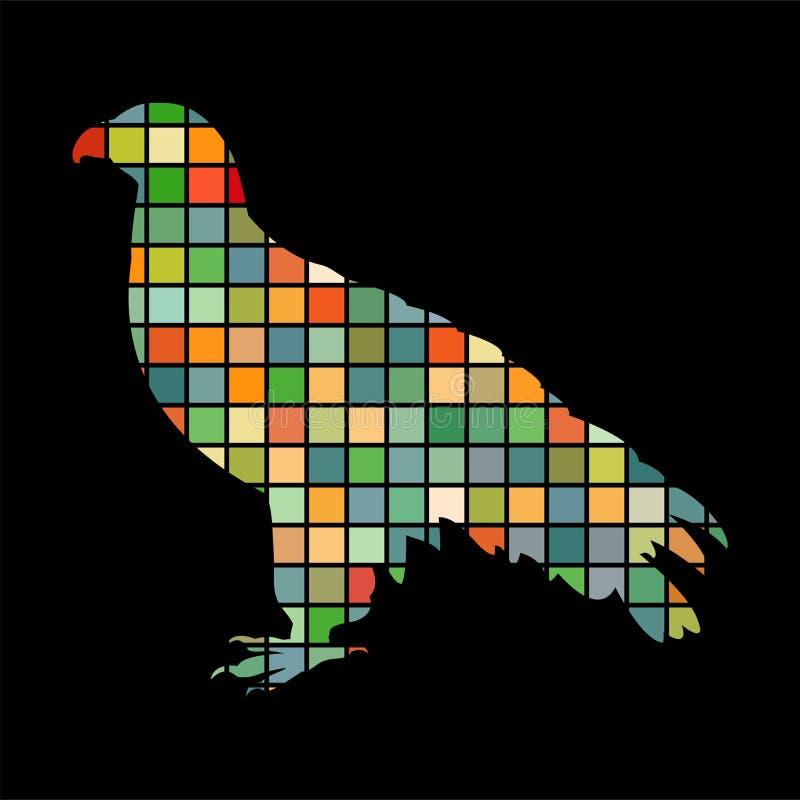 Orlan鹰鸟马赛克颜色剪影动物背景黑色 库存例证