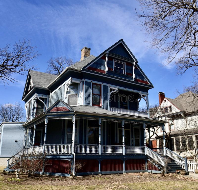 Orlando Blackmer House. This is an early Spring picture of the Landmark Orlando Blackmer House located in Oak Park, Illinois in Cook County. This three-story royalty free stock photos