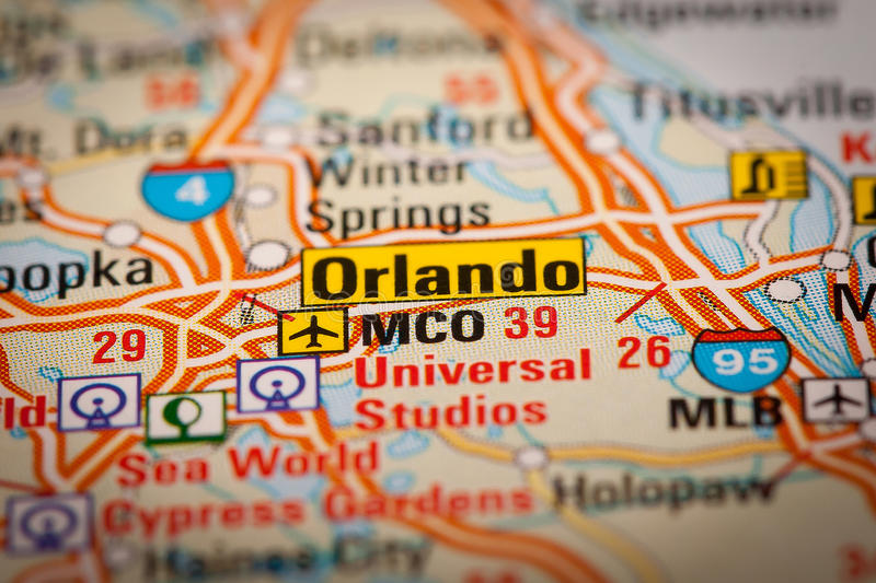 Orlando City on a Road Map stock photo Image of cities 42578832