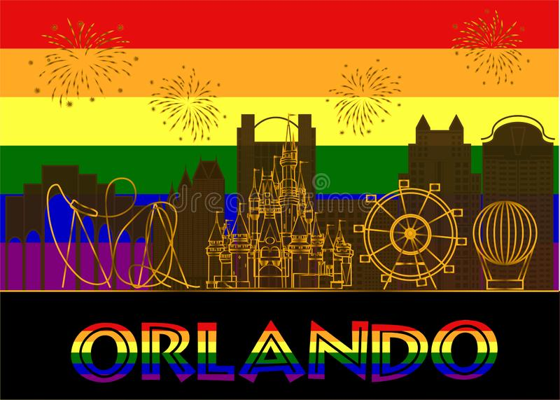 Orlando colorful lettering on colorful background. Vector with travel icons and fireworks. Travel Postcard stock illustration