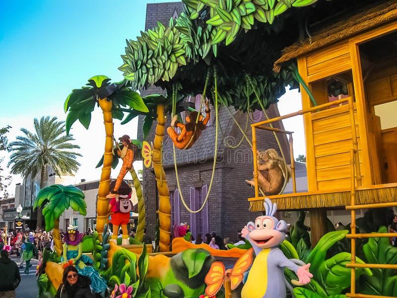 Orlando, de V.S. - 03 Januari, 2014: De mensen in Carnaval in het park De universele Studio's is één van het beroemde thema van O stock afbeelding