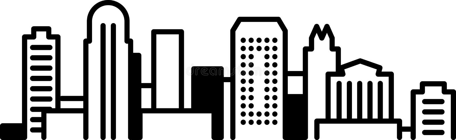 Downtown skyline. Black and white illustration of a cityscape.