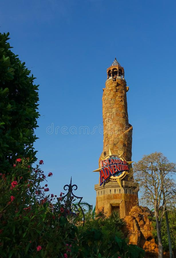 Islands of Adventure entrance tower in Universal Studios stock photos