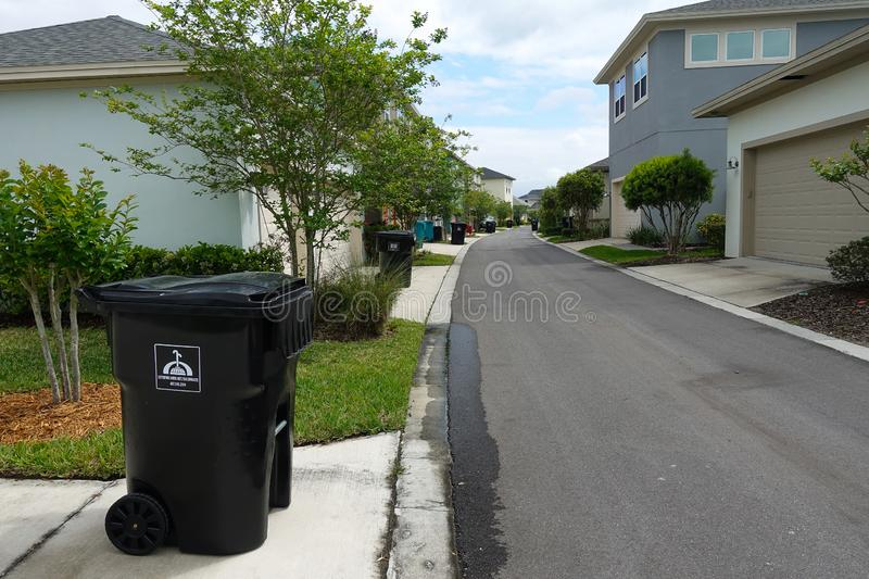 Trash out on the curb stock images