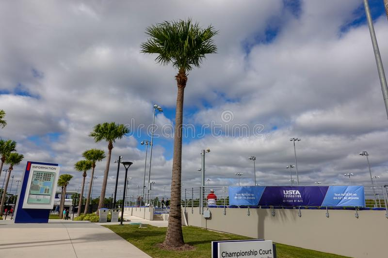 The championship courts of the United States Tennis Association building in Orlando, FL. Orlando,FL/USA-11/16/19: The championship courts of the United States royalty free stock image