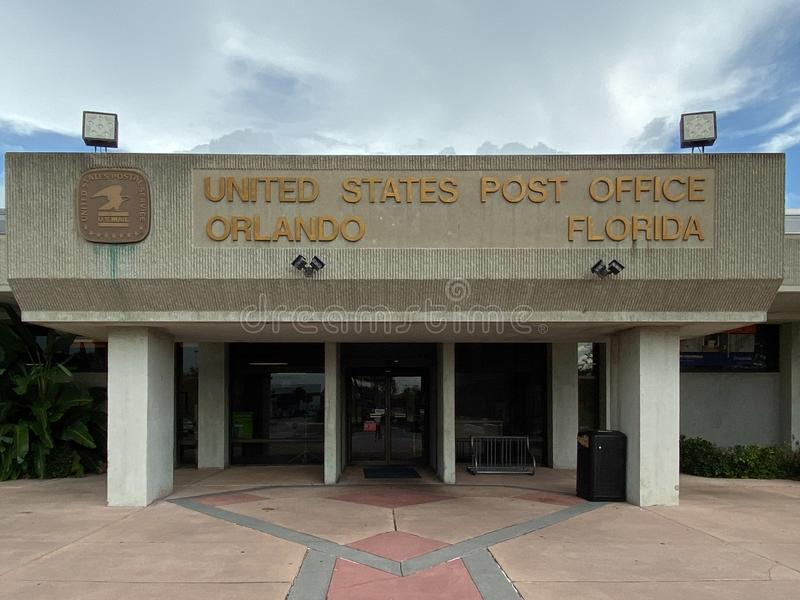 A United States Postal Service, USPS, office. Orlando,FL/USA-10/7/19:  A United States Postal Service, USPS, office next to an international airport in the city stock photos