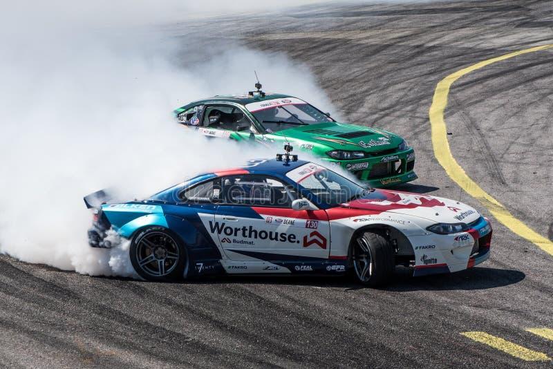 Formula Drift Orlando. Orlando, Florida – April 28, 2018: Drivers compete in Round 2 of Formula Drift in Orlando, Florida, on April 28, 2018 stock photos