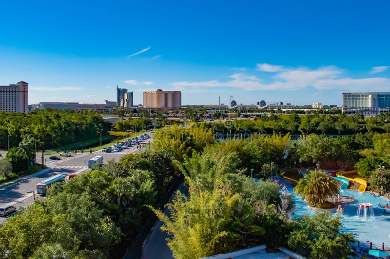 Panoramic view of Aquatica, Hyatt Regency and Convention Center on lightblue sky cloudy background in International Drive area. Orlando, Florida. April 20, 2019 stock images