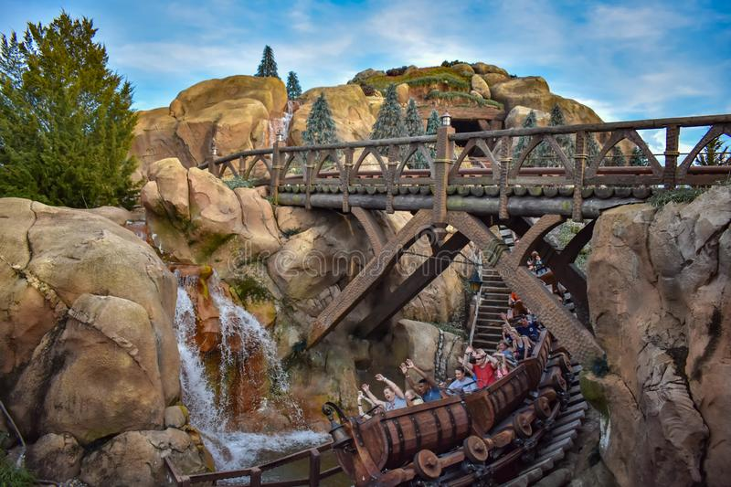 People enjoying Seven dwarf mine train in Magic Kingdom at Walt Disney World 5. Orlando, Florida. April 02, 2019. People enjoying Seven dwarf mine train in Magic stock images