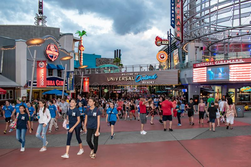 People entering and leaving citywalk at Universal Studios area. stock photo