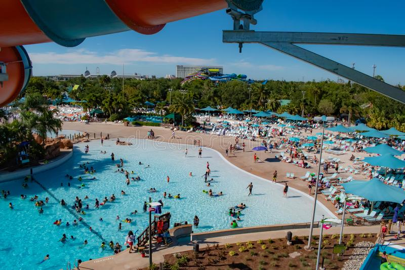 Top view of Karekare curl attraction , pool, beaches, Hilton Hotel and Convention Center in International Drive area. Orlando, Florida. April 20, 2019. Top view royalty free stock photography