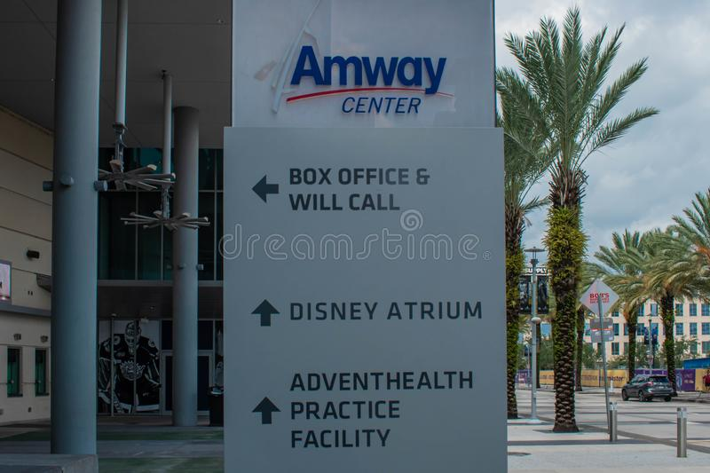Anway Center sign on Church street at downtown area 83. Orlando, Florida. August 17, 2019. Anway Center sign on Church street at downtown area 83 royalty free stock photography