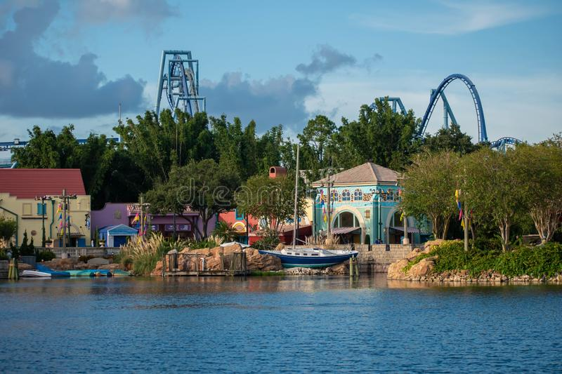 Beautiful view of Seven Seas lagoon dockside at Seaworld. Orlando, Florida. August 31, 2019. Beautiful view of Seven Seas lagoon dockside at Seaworld stock photography