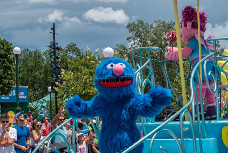 Cookie monster in Sesame Street Party Parade at Seaworld 5. Orlando, Florida. August 07, 2019. Cookie monster in Sesame Street Party Parade at Seaworld 5 stock photo