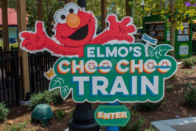 Elmos Choo Choo Train at Seaworld.. Orlando, Florida. August 28, 2019. Elmos Choo Choo Train at Seaworld in International Drive stock image