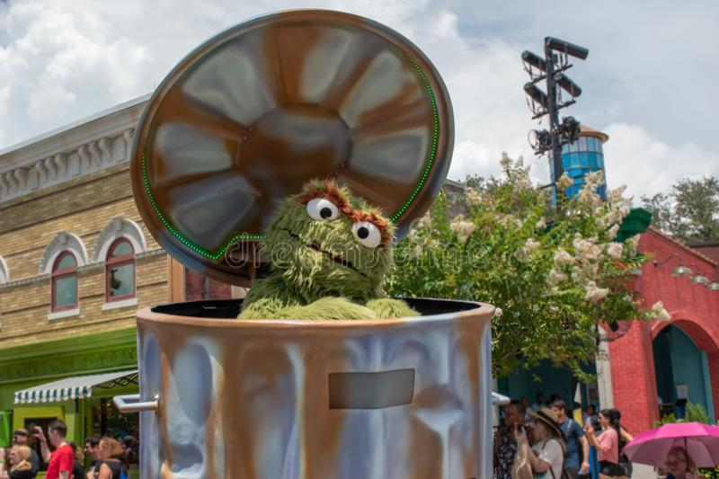Oscar the Grouch in Sesame Street Party Parade at Seaworld 2. Orlando, Florida. August 07, 2019. Oscar the Grouch in Sesame Street Party Parade at Seaworld 2 royalty free stock photo