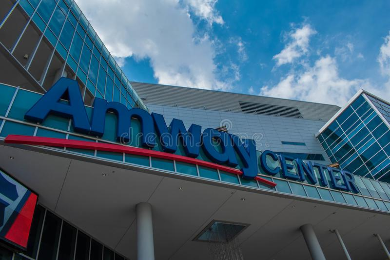 Partial view of Anway Center at downtown area 84. Orlando, Florida. August 17, 2019. Partial view of Anway Center at downtown area 84 royalty free stock images
