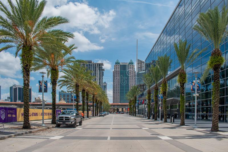 Partial view of Anway Center and modern buildings at downtown area. Orlando, Florida. August 17, 2019. Partial view of Anway Center and modern buildings at stock photos