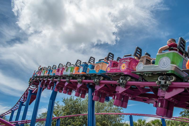 People enjoying Super Grovers Box Car Derby. It is a family friendly rollercoaster in Sesame Street at Seaworld 27. Orlando, Florida. August 07, 2019. People royalty free stock image