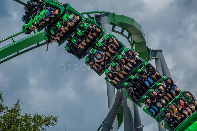 People having fun amazing The Incredible Hulk rollercoaster , during vacation summer at Island of Adventure 40 stock photography