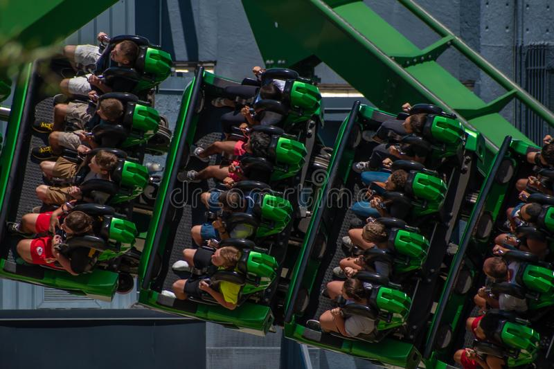 People having fun terrific The Incredible Hulk rollercoaster at Island of Adventure 49. Orlando, Florida. August 07, 2019. People having fun terrific The stock image