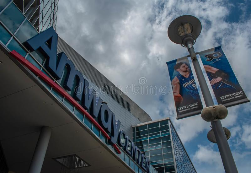 Top view of Anway Center on Church Street at downtown area 3. Orlando, Florida. August 17, 2019. Top view of Anway Center on Church Street at downtown area 3 stock photo
