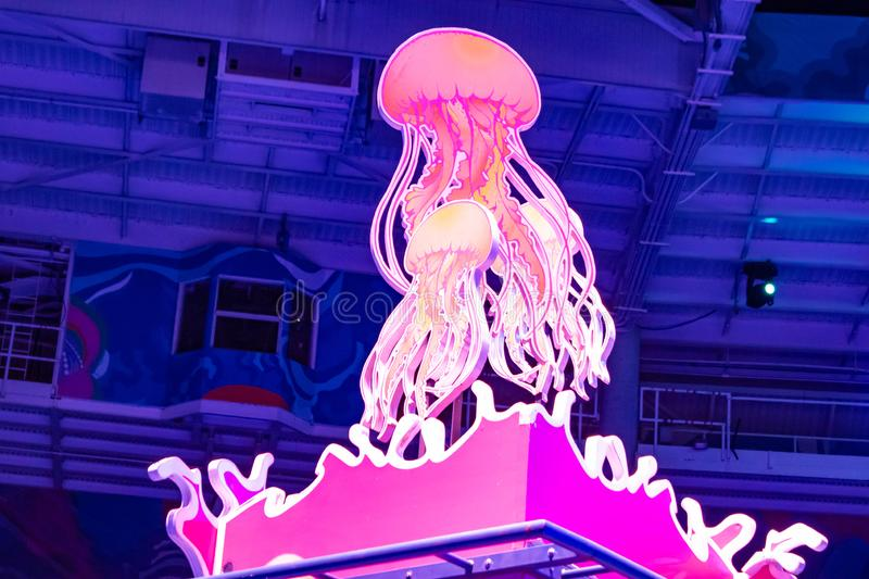 Top view of colorful jellyfish in Electric Ocean at Seaworld 78. Orlando, Florida. August 23, 2019. Top view of colorful jellyfish in Electric Ocean at Seaworld stock image