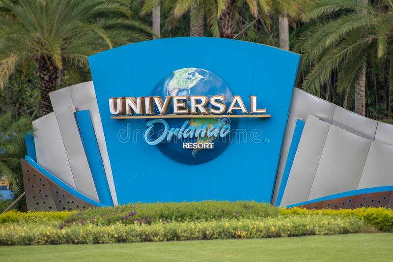 Universal Orlando logo at Universal Studios area 2 royalty free stock photo