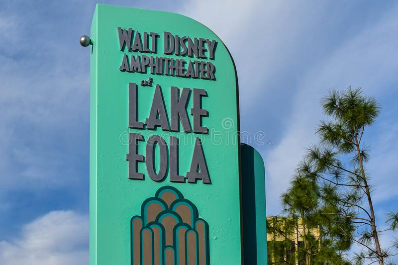 Walt Disney Amphiteater in Lake Eola Park at downtown area 2. royalty free stock photography
