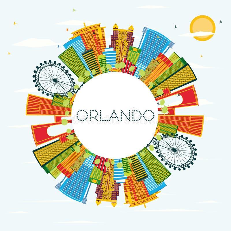 Orlando Florida City Skyline con le costruzioni di colore, cielo blu e illustrazione di stock