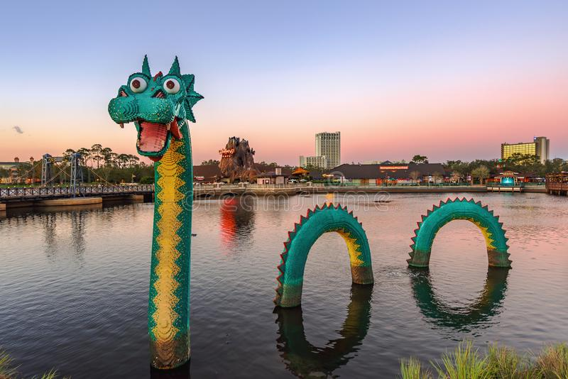 Orlando, Florida, December 2017: Colorful Lego Loch Ness Dragon Monster at at Lake Buena Vista. Orlando, Florida - December 2017: Lego Loch Ness Monster Dragon royalty free stock images