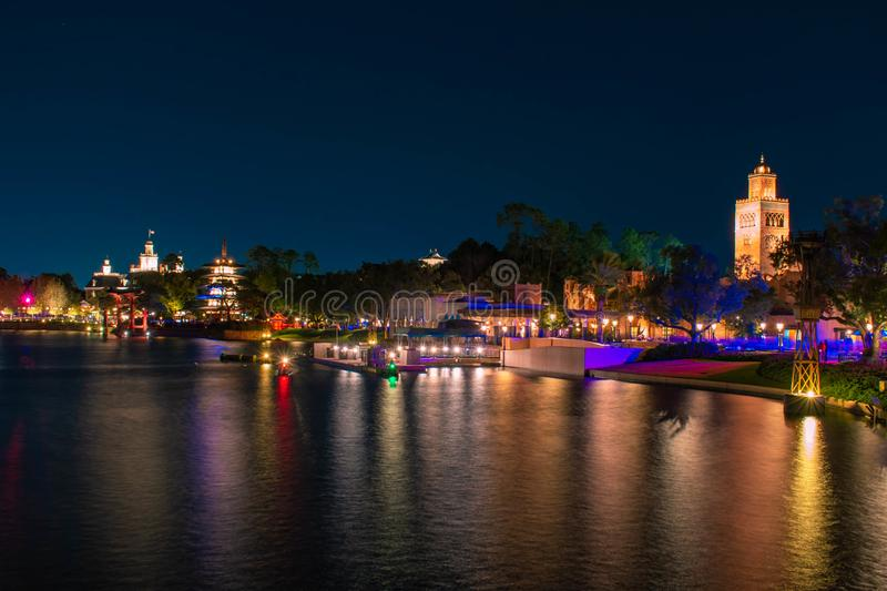 Panoramic view of Morocco, Japan and The American Adventure Pavillions at Epcot 27. Orlando, Florida. December 18, 2019. Panoramic view of Morocco, Japan and The stock photos