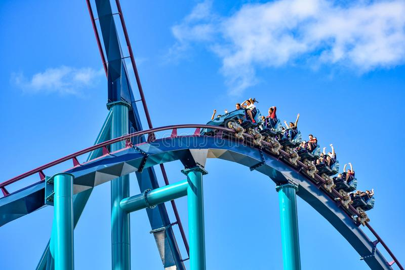 This roller coaster is known for high speeds, deep dives and thrills around every turn at Seaworld in International Drive area 12 royalty free stock images