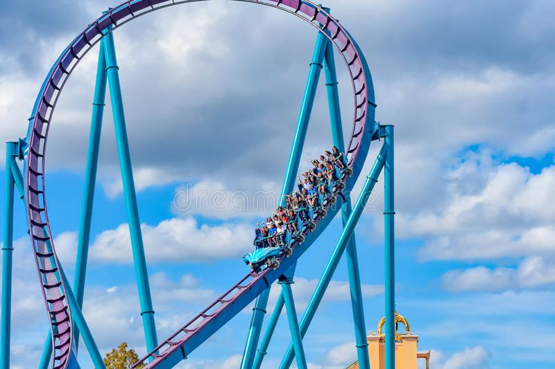 This roller coaster is known for high speeds, deep dives and thrills around every turn at Seaworld in International Drive area 5. Orlando, Florida. December 26 royalty free stock photos