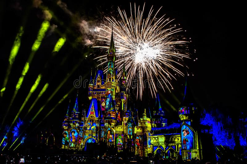 Spectacular fireworks  in Happily Ever After Show at Cinderella`s Castle in Magic Kingdom 5. Orlando, Florida. December 05, 2019. Spectacular fireworks  in royalty free stock image