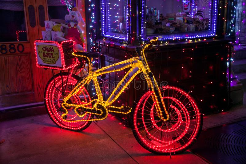 Osborne Family Spectacle of Dancing Lights Bike. ORLANDO, FLORIDA - December 29th, 2013 - A bike with lights at the Osborne Family Spectacle of Dancing Lights at royalty free stock photography