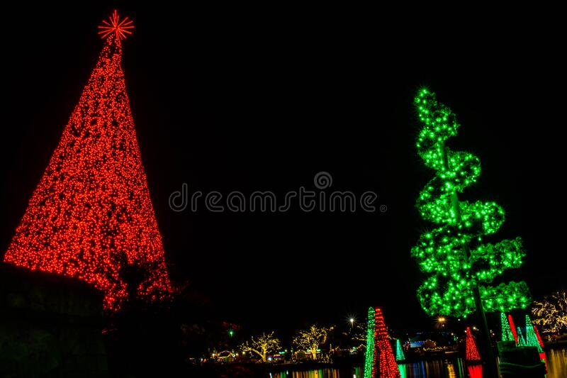 Top view of colorful Christmas trees at Seaworld 413. Orlando, Florida. December 30, 2019. Top view of colorful Christmas trees at Seaworld 413 stock photography