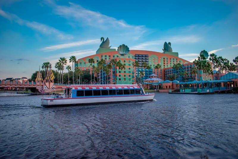 Walt Disney World Swan Hotel and taxi boat in Lake Buena Vista area 4. stock photos