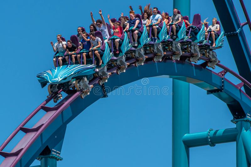 People screaming, laughing and enjoying Mako rollercoaster at Seaworld 49. Orlando, Florida. July 29, 2019. People screaming, laughing and enjoying Mako royalty free stock photo