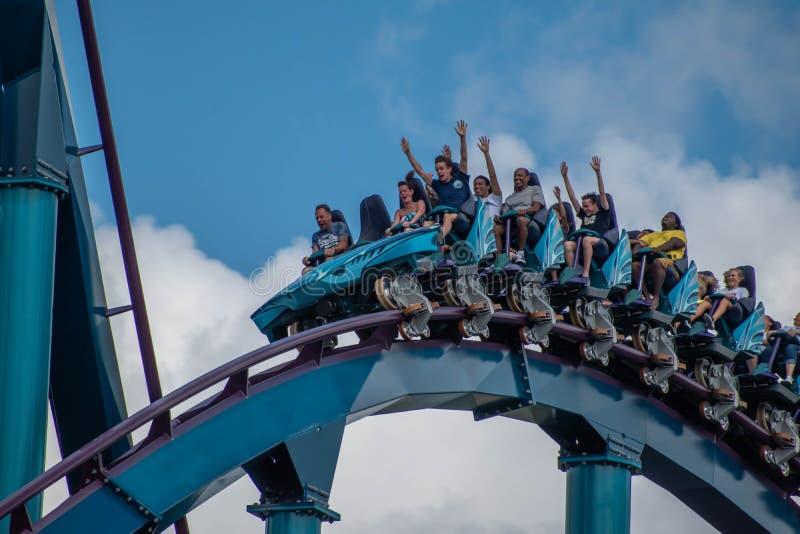 People screaming, laughing and enjoying Mako rollercoaster at Seaworld 17. Orlando, Florida. July 29, 2019. People screaming, laughing and enjoying Mako stock photos