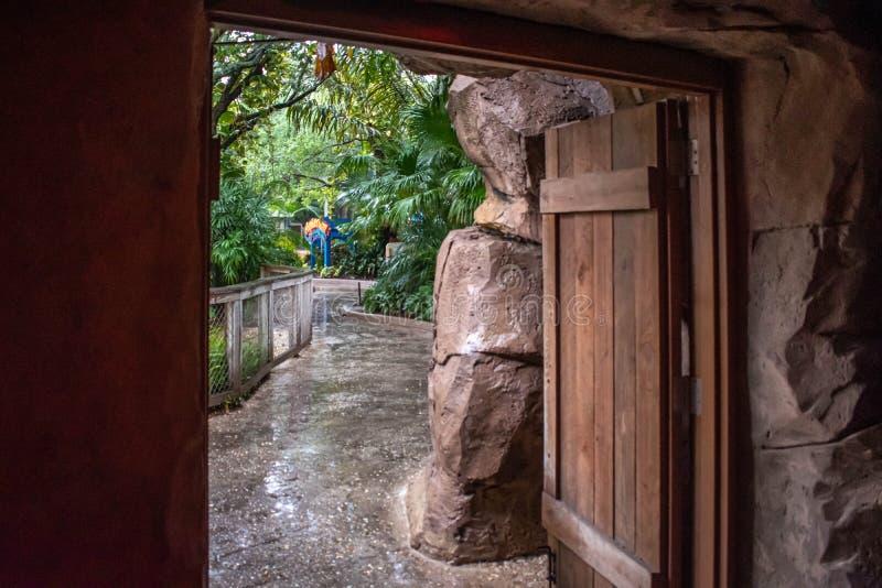 Rainy day, from Aquarium exit door at Seaworld at Seaworld royalty free stock photography
