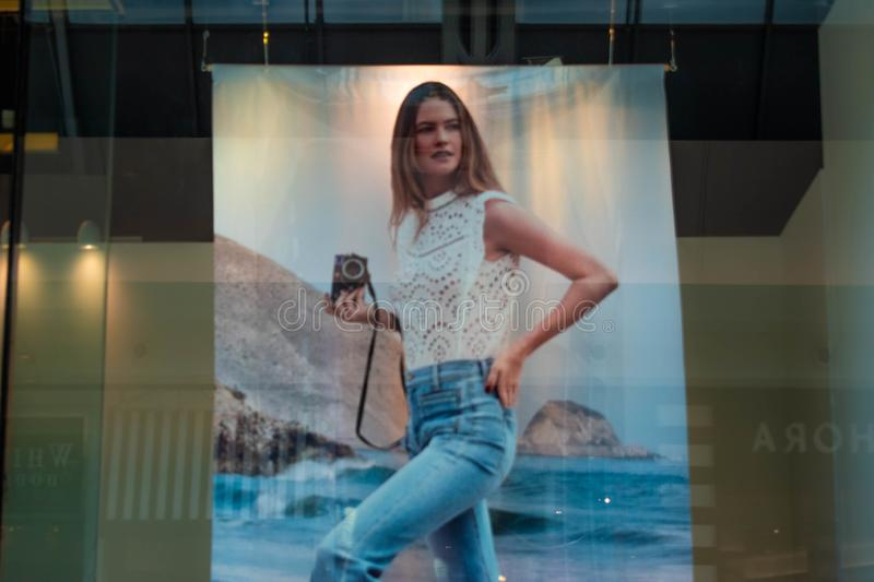 Giant Image with woman models promoting big brands in The Mall at Millenia 2 stock photography