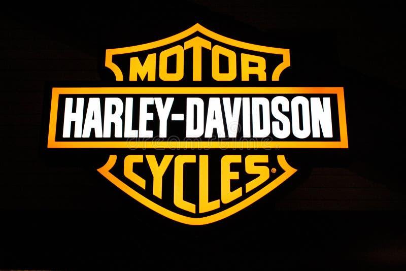 Harley Davidson logo in Disney Springs at Lake Buena Vista . stock photography