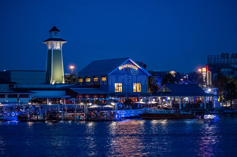 Panoramic view of colorful dockside on blue night in Disney Springs at Lake Buena Vista stock photos