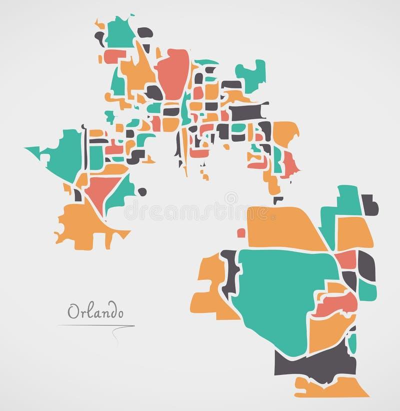 Orlando Florida Map with neighborhoods and modern round shapes. Illustration vector illustration