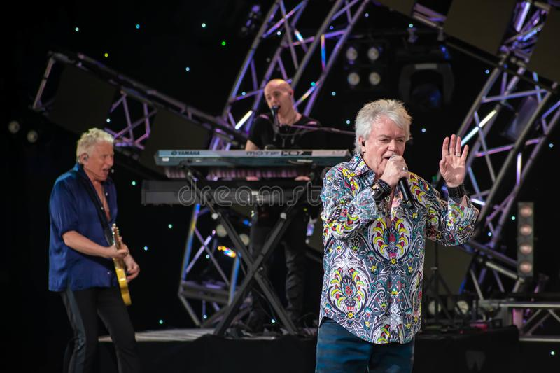 Graham Rusell and Russell Hitchcock  from air supply, singing beautiful melody at Epcot in Walt Disney World  6. Orlando, Florida. March 26, 2019. Graham Rusell royalty free stock photo